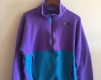 1990s Color Block Fleece. Pullover Fleece. Chlorophylle Fleece. Half zip Fleece.