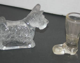 2 Vintage Clear Glass Candy Containers - SCOTTIE DOG Open Bottom & BOOT - Exc. Condition