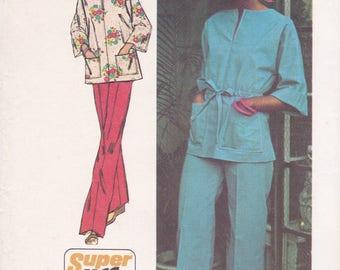 FREE US SHIP Simplicity 6469 Vintage Retro 1970's 70's Sewing Pattern Caftan Top Pants High Waist Wide Leg Uncut Size 10 Bust 32.5