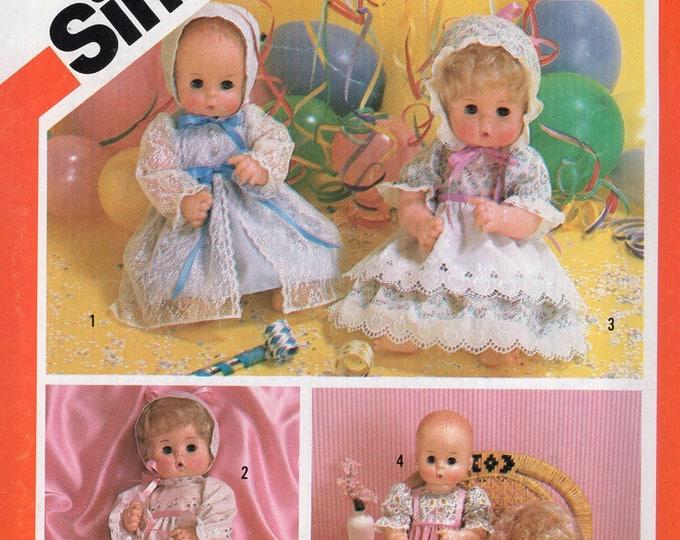 "Simplicity 6055 Vintage Retro 1980s 80s Sewing Pattern Babydoll Doll Size 15 16"" Factory Folded Dress Bonnet"