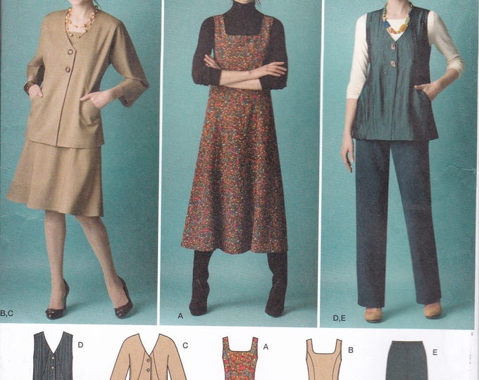 FREE US SHIP Simplicity 2539 Sewing Pattern Dress Top Pants Vest Jacket Separates Wardrobe Size 20W 22W 24W 26W 28W Bust 42 44 46 48 50 plus