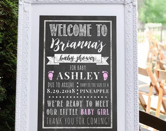 Baby Shower Decorations, Baby Shower Sign, Baby Shower Welcome Signs, Baby Shower Decoration, Girl Baby Shower, It's a Girl Pink Baby Shower