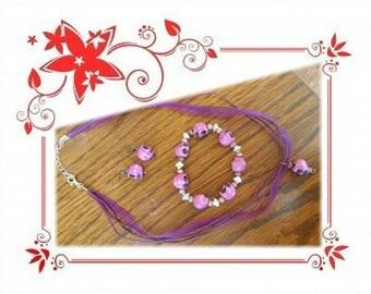 Skull, necklace, earrings and bracelet set