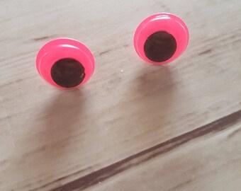 Pink and black eye Stud Earrings