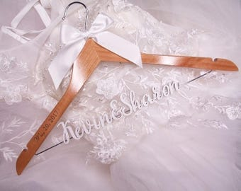 Personalized Wedding Hanger Gold Letters, Bridal Hanger, Bridesmaid Dress Hanger, Wedding Shower Gift Bridal Dress Hanger photo prop vet0004