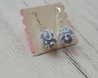Spiral Oval Earrings - Silver Earrings - Gifts for Her - Lampwork Glass - Bridal Jewellery - Swarovski Crystals - Wedding Jewellery -Artisan