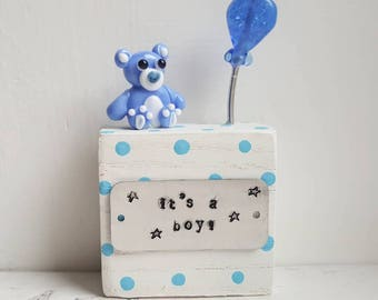 It's a Boy Gift - New Baby Gift - Baby Boy Teddy - Baby Shower Gift - Baby Keepsake - Lampwork Ornament - Teddy Figurine - Lampwork Glass