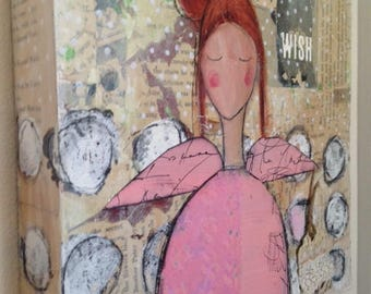 Mixed Media Painting Angel Girl Original Art on Wood Canvas, Wall Art
