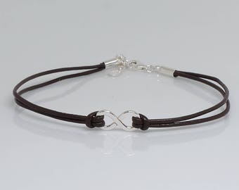 Infinity Sterling Silver Leather Bangle