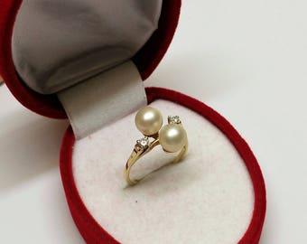 Ring Gold 585 2 beads & 2 Diamonds vintage GR420