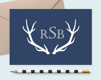 Personalized Masculine stationery set/antler Notecard/Monogram Note Card/Gift for Men,/Fathers day gift