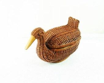 Vintage Wicker Duck Basket With Lid Vintage Wicker Duck Basket Beautiful Duck Basket Wicker Basket Nr 1