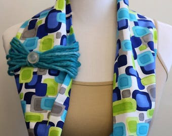 The Kelly- Handmade Fabric Cowl Scarf with Yarn and Button