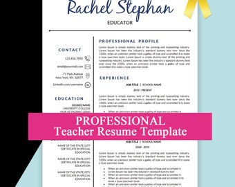 Teacher Resume Template, Education Resume, Teacher CV, Resumes, Educator Resume, Teaching Resume, Elementary Teacher Resume and Cover Letter