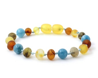 """Baltic Amber Teething Anklet or Bracelet for Baby, Unpolished Multicolor Amber mixed with Aquamarine Beads, Available in 5.5-6.3"""" Length"""