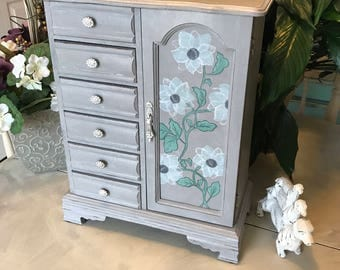 Ucycled Vintage Jewelry Armoire / Shabby Chic Jewelry Box / Wooden Painted Jewelry Storage / OOAK Jewelry Organizer / Womens Gifts
