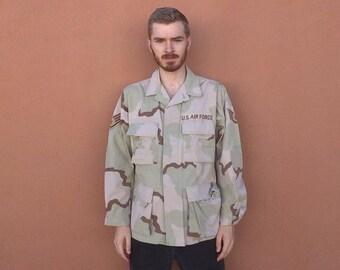 90s USAF Desert Camo BDU Coat w/ Patches size MEDIUM ~ 34770