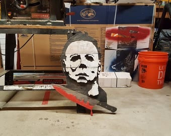 Wooden Michael Myers face sign from halloween the movie