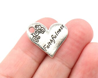 5 Pcs Faithfulness Charms Heart Charms Antique Silver Tone 20x21mm - YD1459
