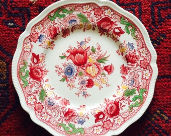 Dorchester Johnson Bros. Brothers England Red Multi Color Transferware Desert Salad Plate 8""