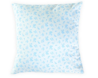 Blue pillow cover - Floral blue pillow cover - Blue white throw pillow
