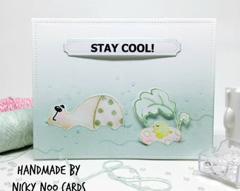 Handmade Card - Stay Cool - Big Bear and Bird - Watercolour Card