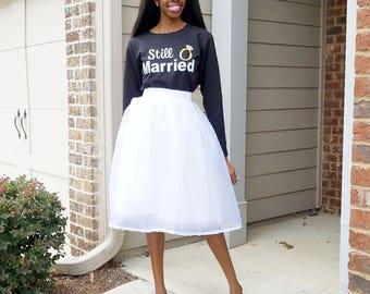 "Rhinestone Organza Mini, Midi, or Maxi Skirt ""Crystal"" - XS - 6XL Plus Size, Any Height"