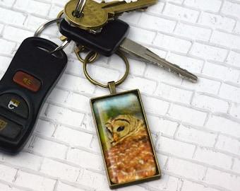 Owl Keychain RectangleKeychain Wildlife Keychain Nature Keychain Souvenir Keychain Photo Keychain