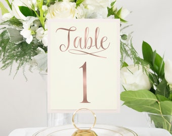 Rose Gold Foil Elegant Script Table Numbers, Ivory and Pink, Custom, Handmade Wedding available in Silver, Gold, or Copper #0108