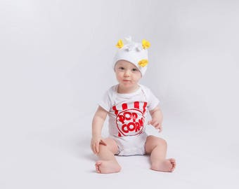 Popcorn Baby Outfit with Hat, Popcorn Baby Costume, Baby Coming Home outfit, Baby Shower Gift