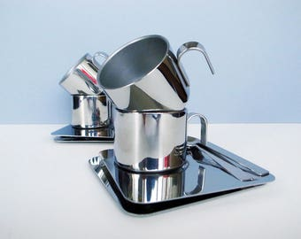 Italian Vintage INOX Stainless Steel Thermal Espresso / Demitasse Cups and Saucers Demi with spoon / Set of 2