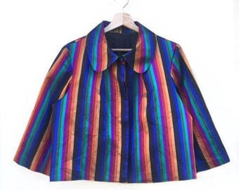 Short jacket in pure silk with multicolor stripes size 42