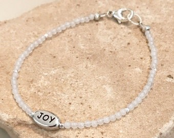 Crystal bracelet, gemstone bracelet, message bracelet, Hill Tribe silver bracelet, quartz bracelet, Joy bracelet, dainty bracelet