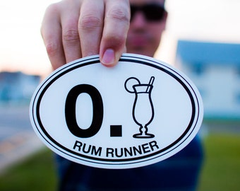 Rum Runner Sticker Decal, Car / Truck / Camper Bumper, Tiki Bar or Cooler Decoration, Party Gift for Him or Her, Durable Resistant Drink Fun