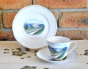 Royal Stafford 1940s souvenir porcelain trio, Table Top from Picnic Point, Toowoomba Queensland