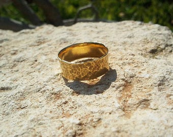 Wide Hammered Gold Band, 14k yellow gold wedding band, solid gold textured ring for women