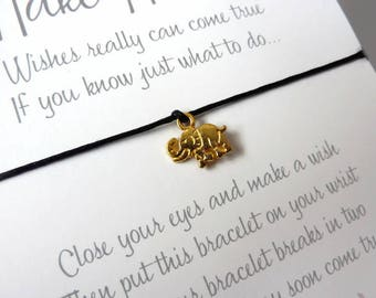 Wish Bracelet - Golden Elephant / Gold Elephant Charm / Lucky Elephant / Elephant Gift / Good Luck Charm / Choice of colours / Wish Knots