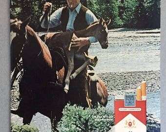 "1974 Marlboro Cigarette Double Page Print Ad  - ""Come to Marlboro Country"" - Colt - Vintage Cigarette Ad"