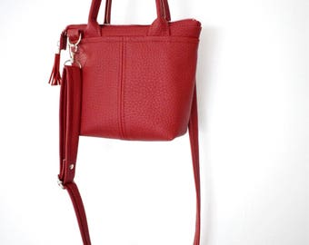 Red mini tote bag, leather crossbody bag, women zipper bag, red small purse, vegan leather handbag, top handle leather bag, transport tote