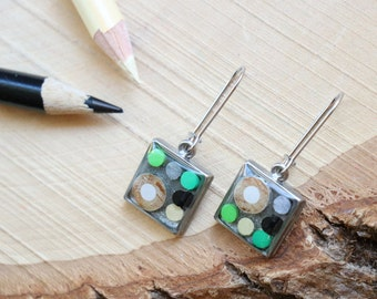 Earrings made with recycled color pencils