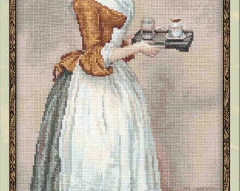 Cross Stitch Kit The Chocolate Girl after J.E. Liotard's Painting by Riolis - Christmas Gift; kitchen wall decor; Art embroidery;