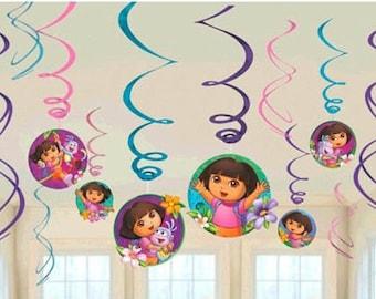 Dora the Explorer ''Flower Adventure'' Hanging Swirl Decorations 12ct