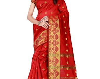 Indian Designer Red Colored Banarasi Silk Saree Bollywood Party Wear Engagement weeding  Readymade trendy silk Saree Blouse women