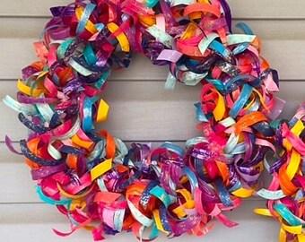 Upcycled Plastic Bottle Curly Wreath (Medium)