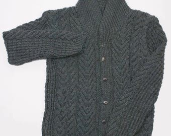 Aran Male Shawl Collar Cardigan - Dark Grey