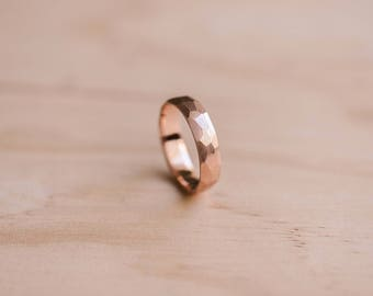 18 Carat Solid Rose Gold Faceted Ring