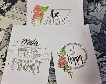 Make Today Count, Be Mine, Be Happy Decorative Postcards