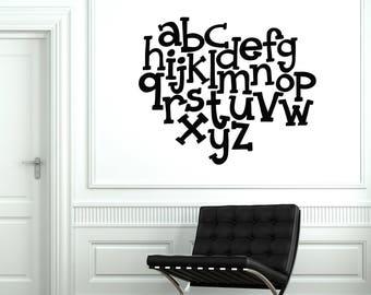 Vinyl Wall Decal Abc Alphabet Nursery School Kids Zone Stickers Mural (#2543di)