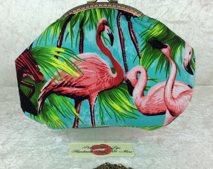 Flamingos Alice  frame bag fabric handbag purse handmade in England