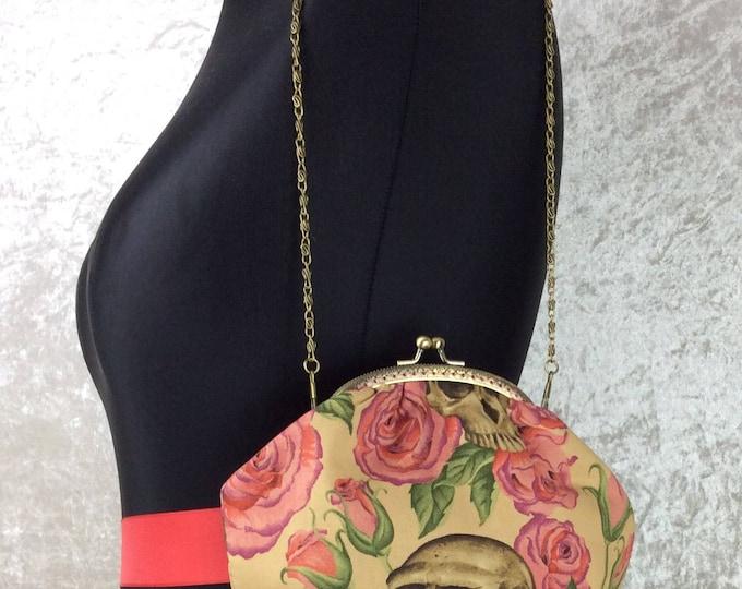 Gothic Resting In Roses Skulls Alice frame handbag Alexander Henry fabric small bag purse makeup bag handmade in England